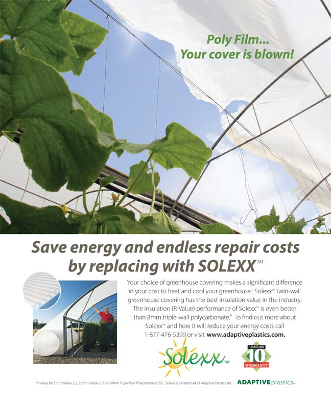 End repeated replacement and repair cost with Solexx over greenhouse polyfilm.